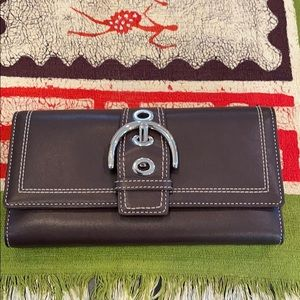 Coach Leather Trifold Wallet with Buckle